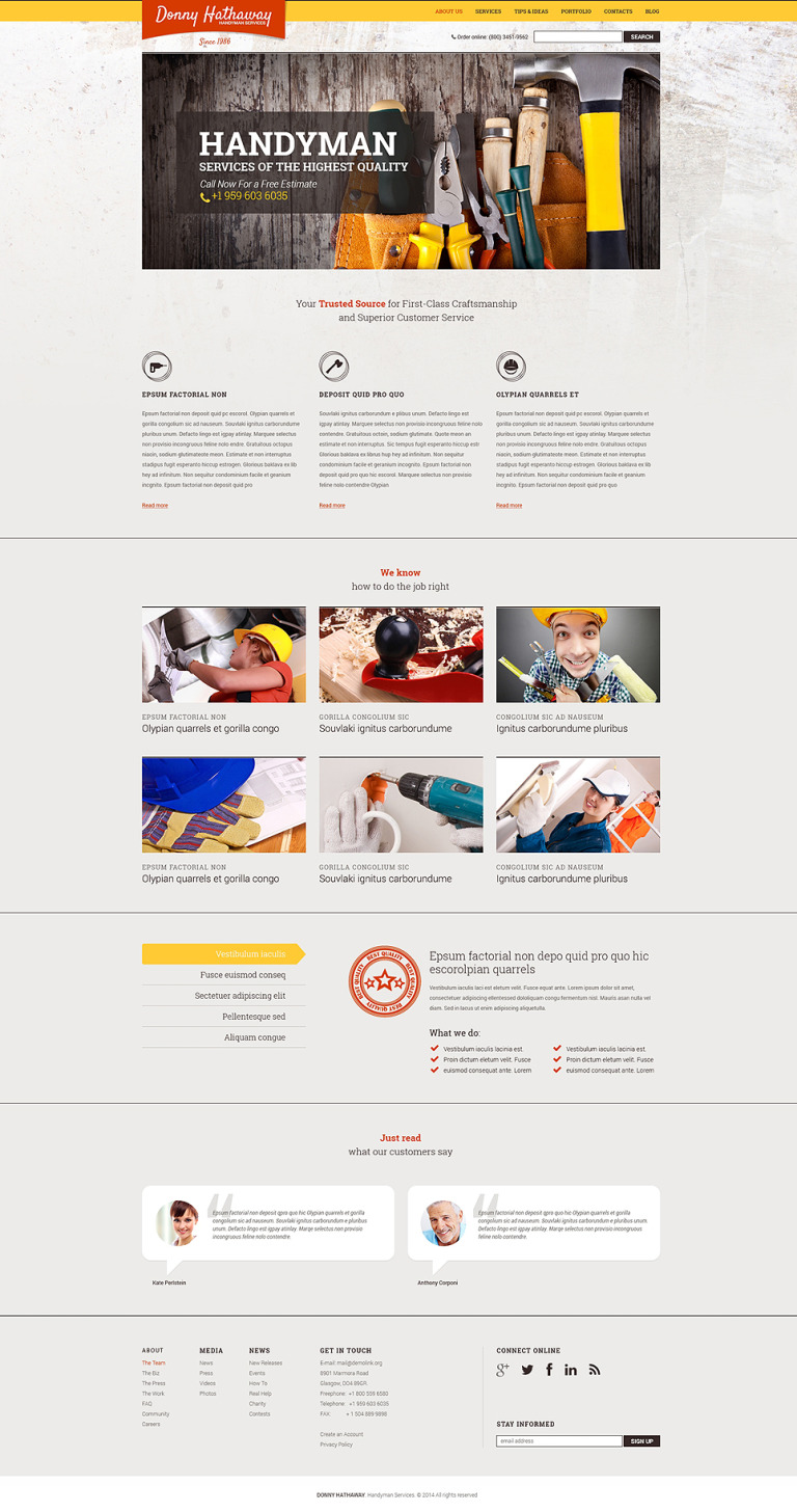 Home Repairs Drupal Template New Screenshots BIG