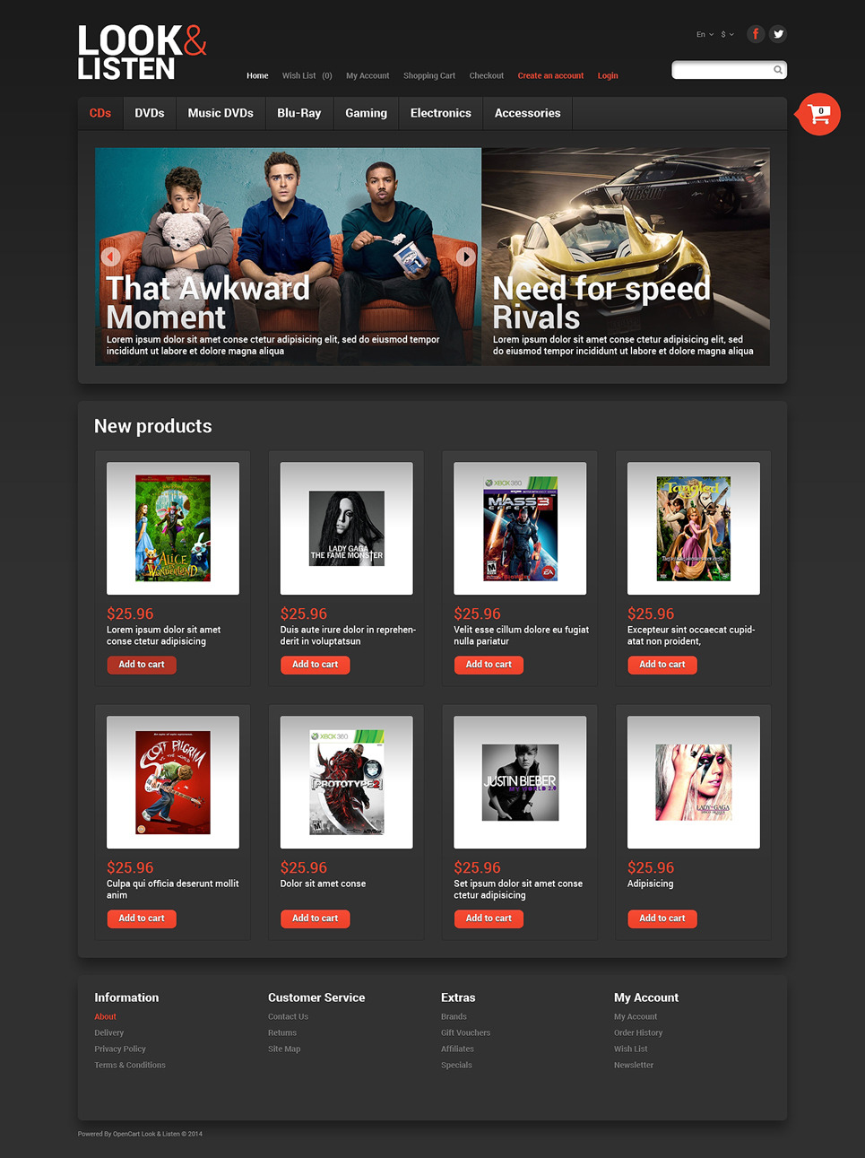 Look, Listen Play OpenCart Template New Screenshots BIG