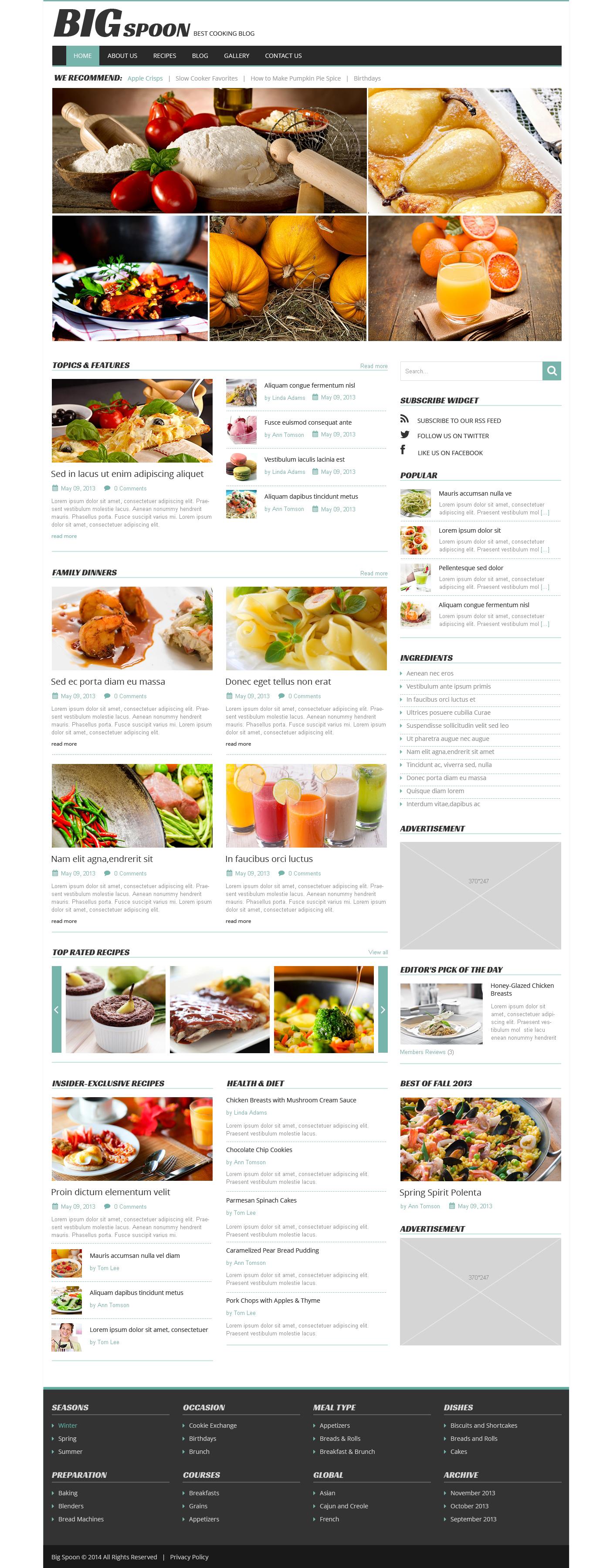 modello wordpress responsive 49250 per un sito di cucina