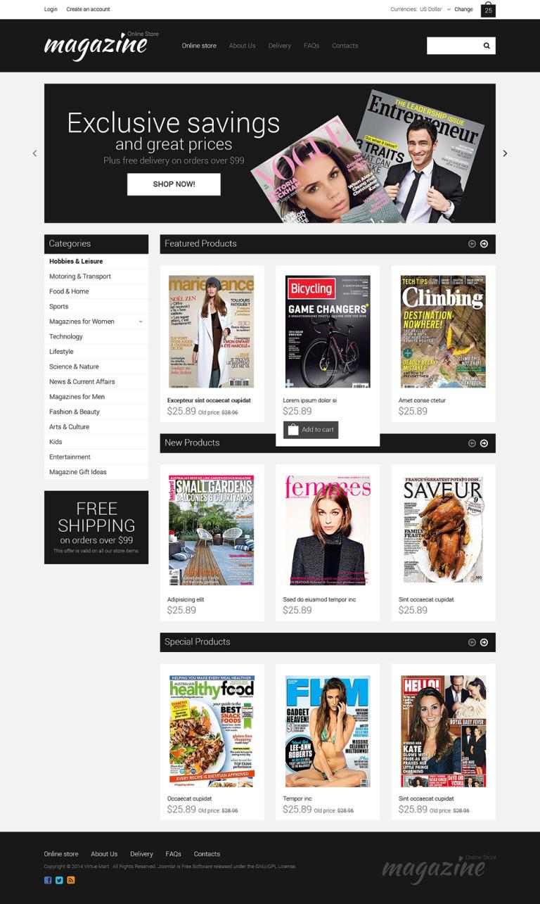 News Portal VirtueMart Template New Screenshots BIG