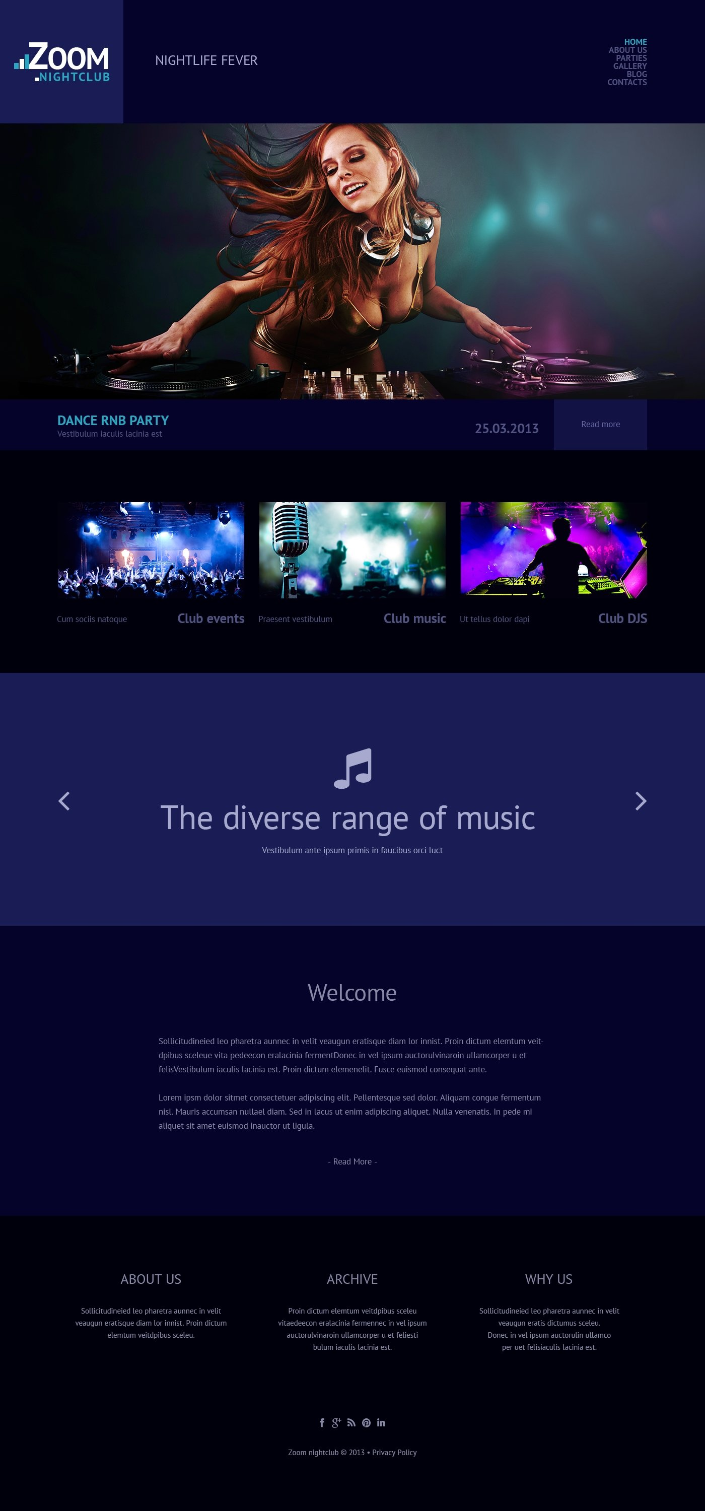 Night Club Responsive WordPress Theme - screenshot