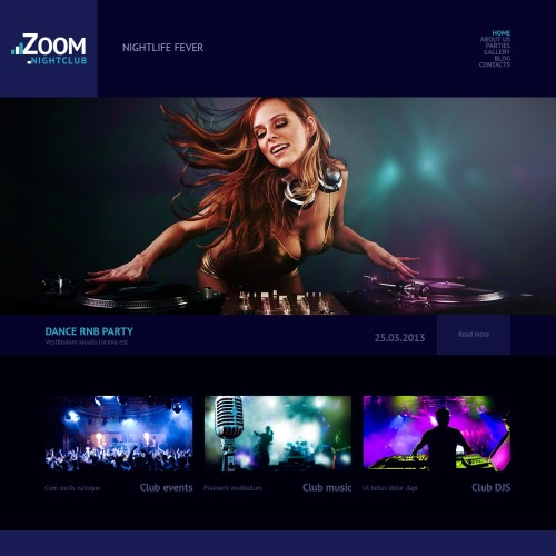 Zoom Nightclub - WordPress Template based on Bootstrap