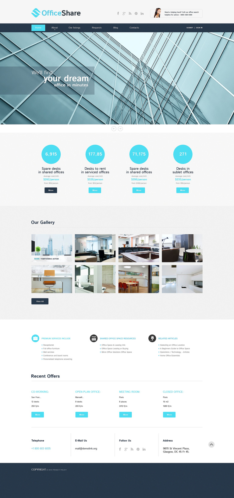 Office Responsive Website Template New Screenshots BIG