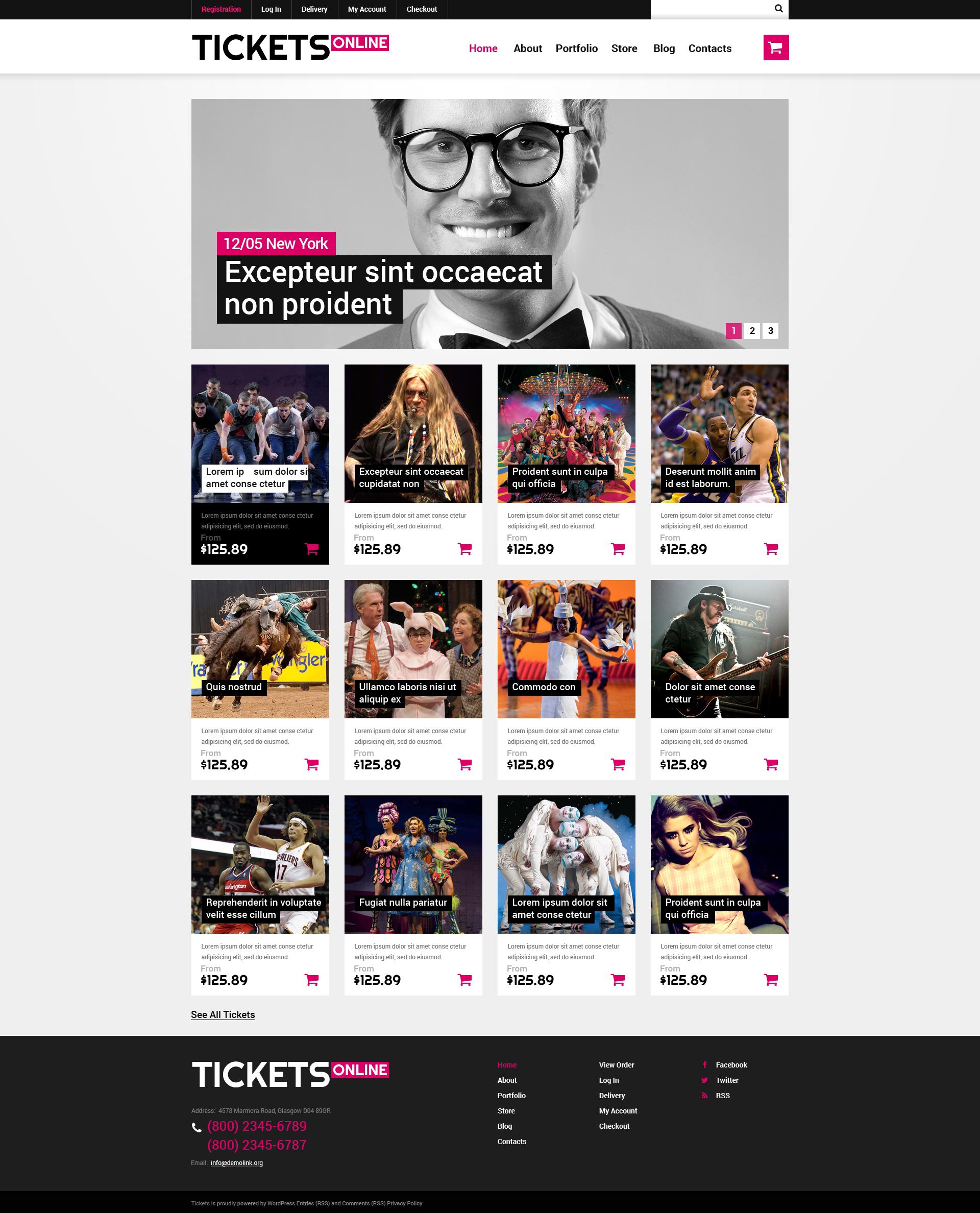 """""""Online Tickets"""" thème WooCommerce adaptatif #49232 - screenshot"""