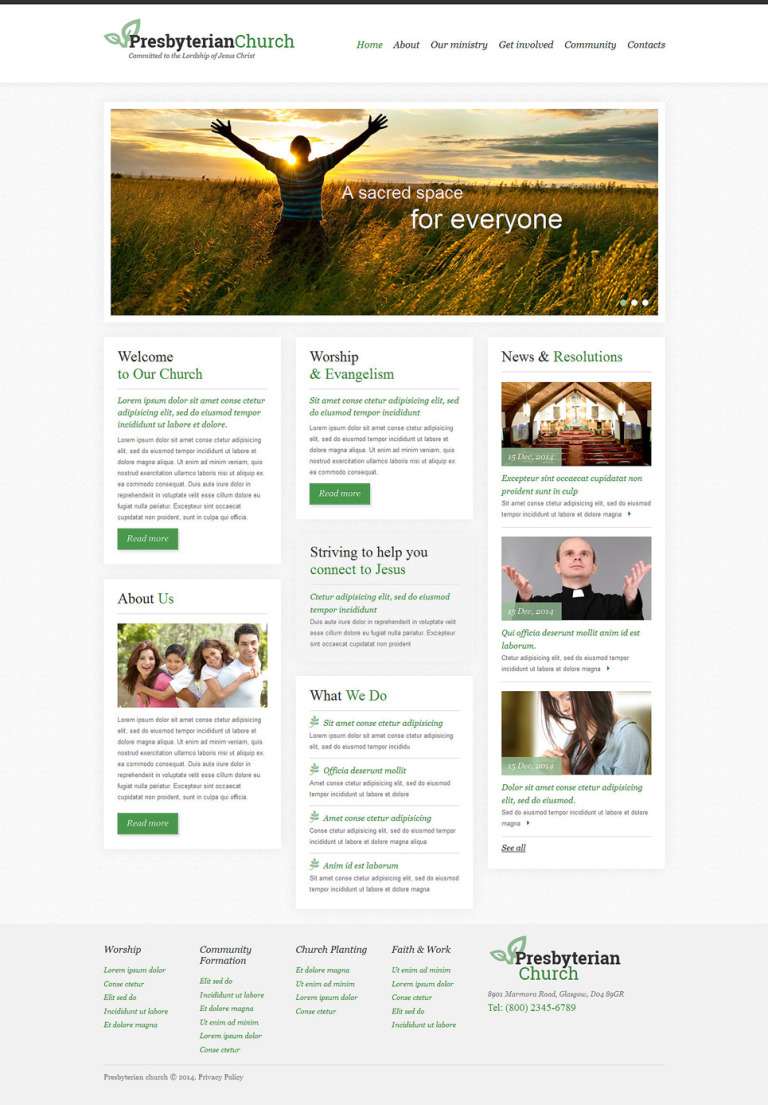 Presbyterian Responsive Website Template New Screenshots BIG