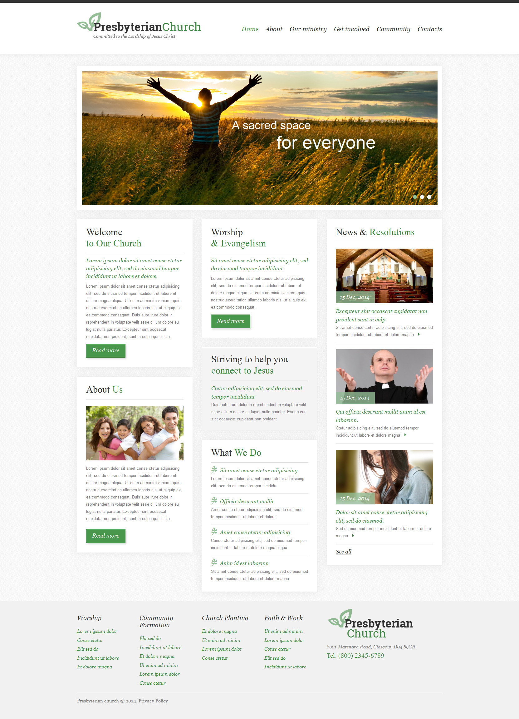 Presbyterian Responsive Website Template - screenshot