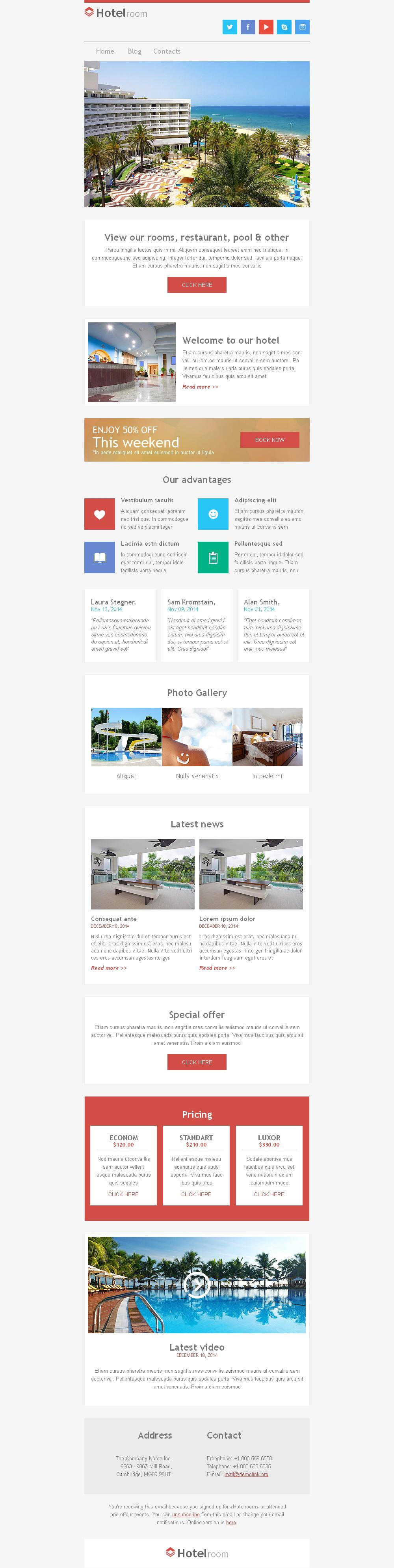 Responsive Newsletter Vorlage für Hotels #49296