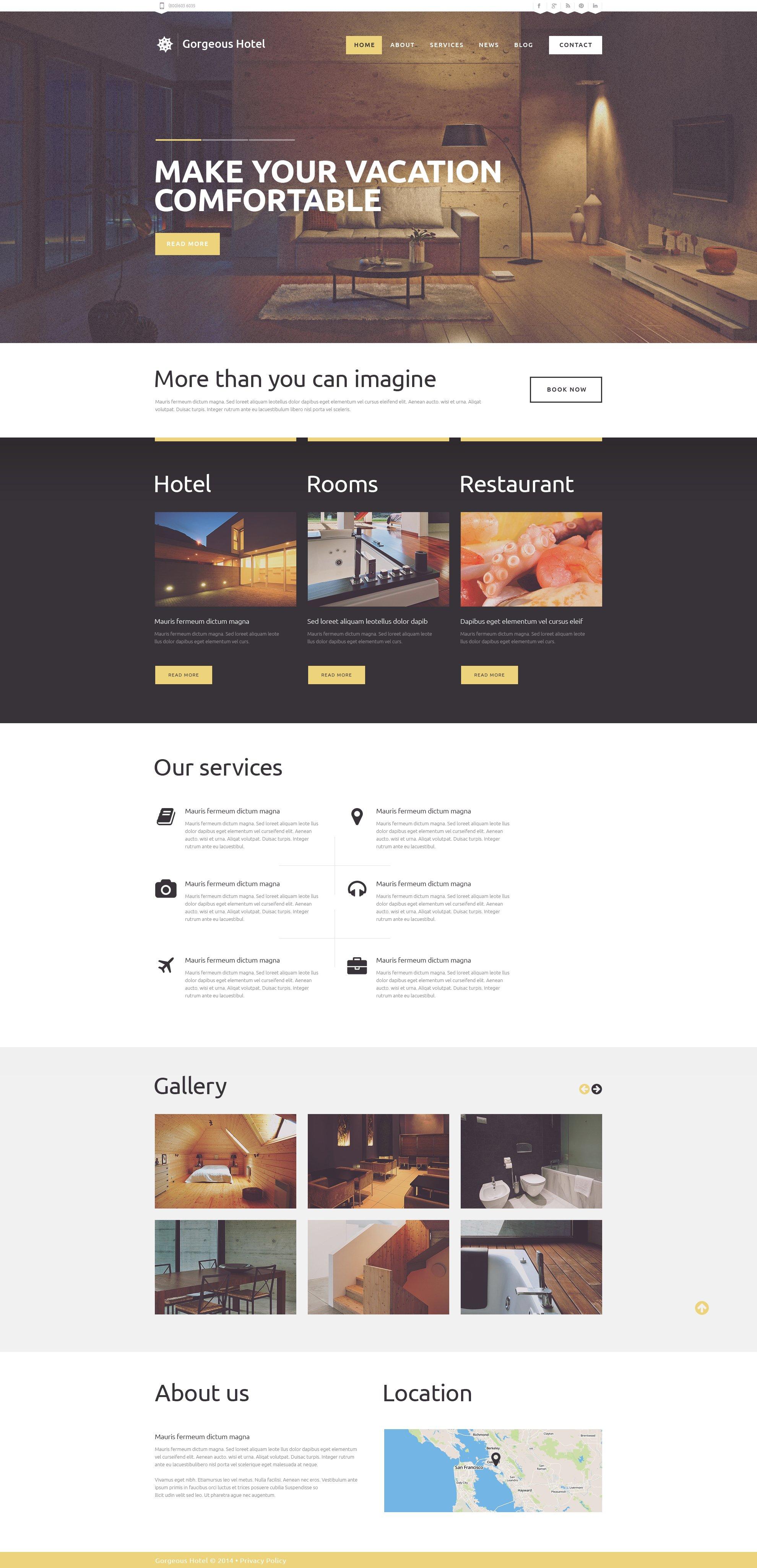 Responsive WordPress thema over Hotels №49248 - screenshot