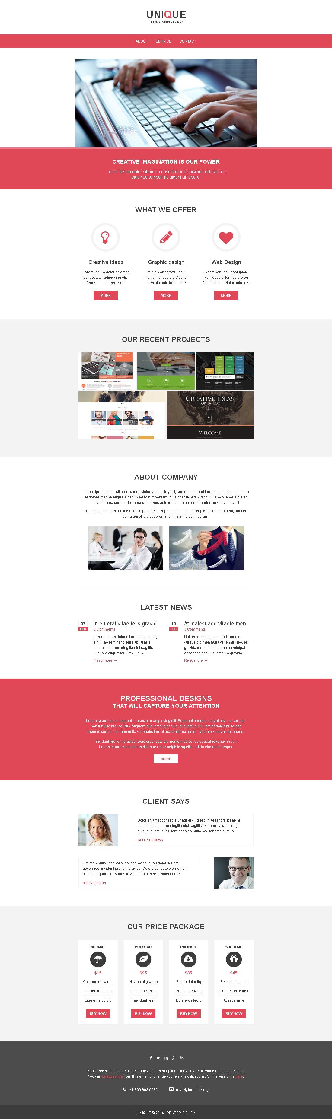 Responzivní Newsletter šablona na téma Designové studio #49267 - screenshot