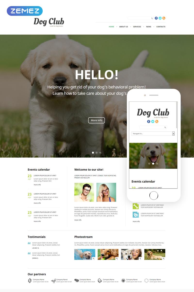 Reszponzív Dog Club - Animals & Pets Clean Joomla sablon 49255