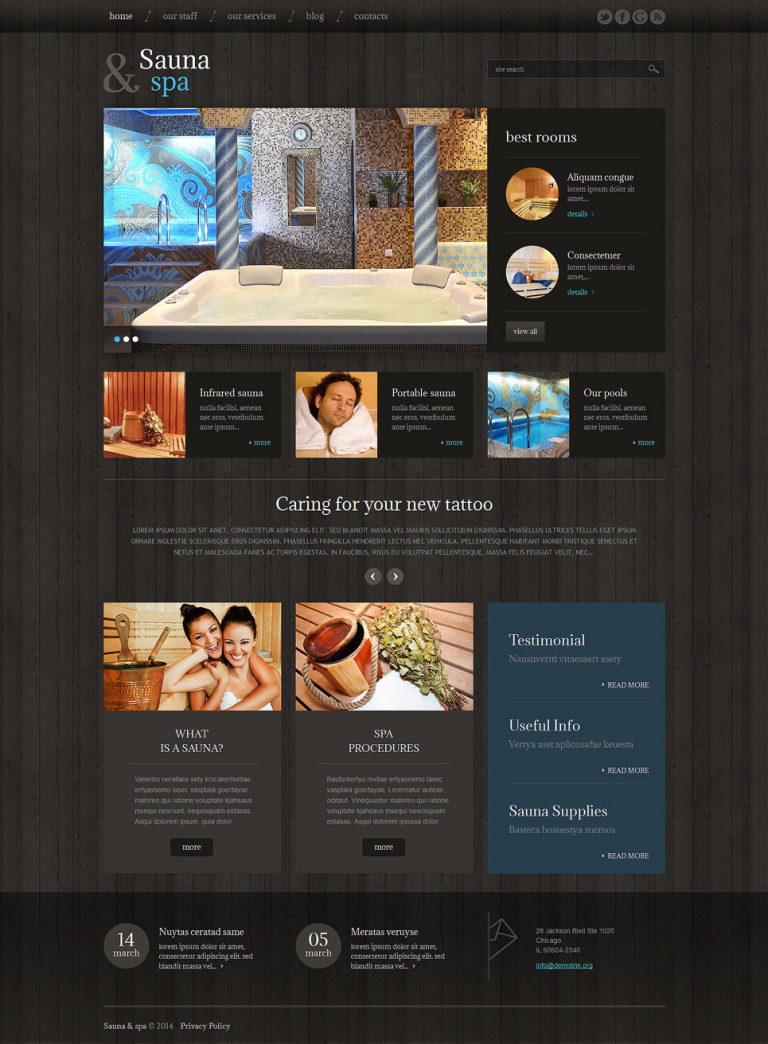 Sauna Responsive WordPress Theme New Screenshots BIG