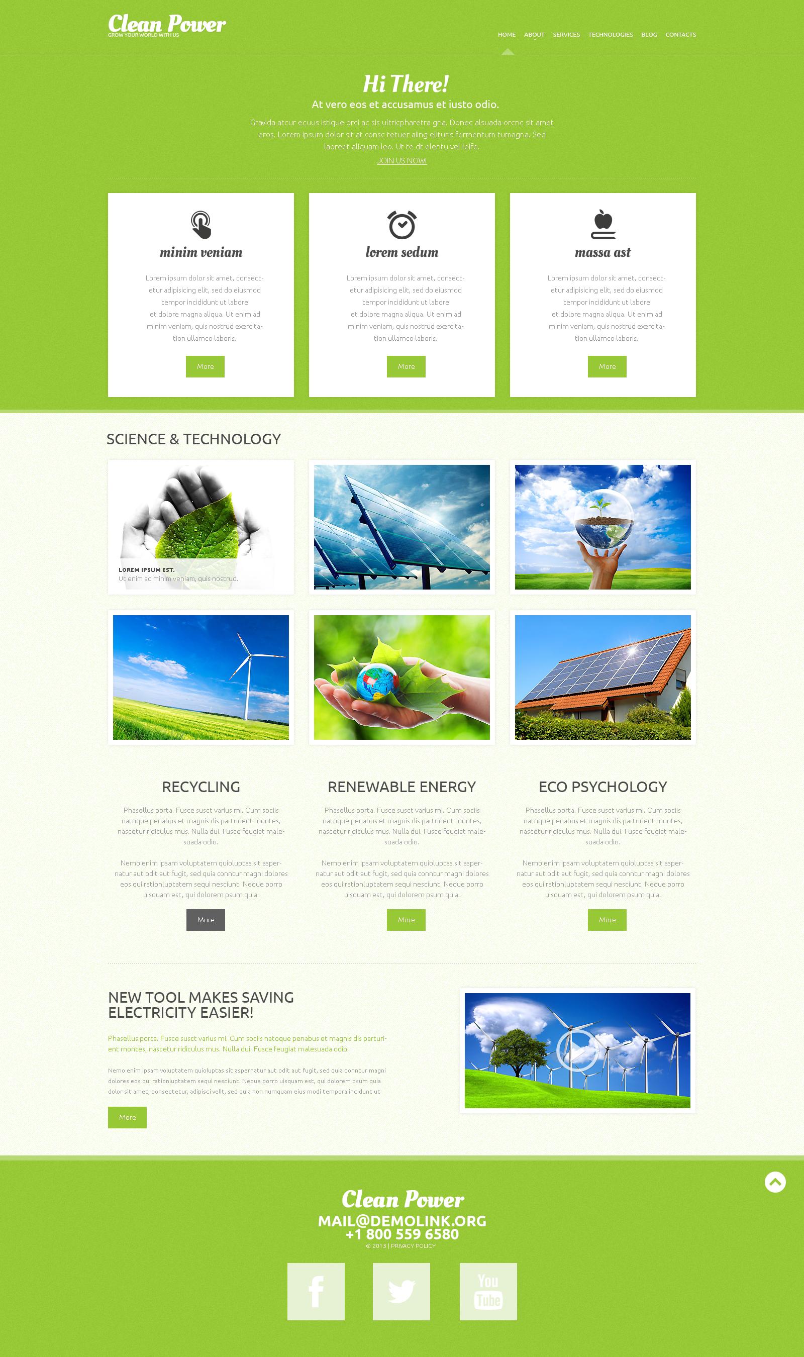Tema De WordPress Responsive para Sitio de Energía alternativa #49290