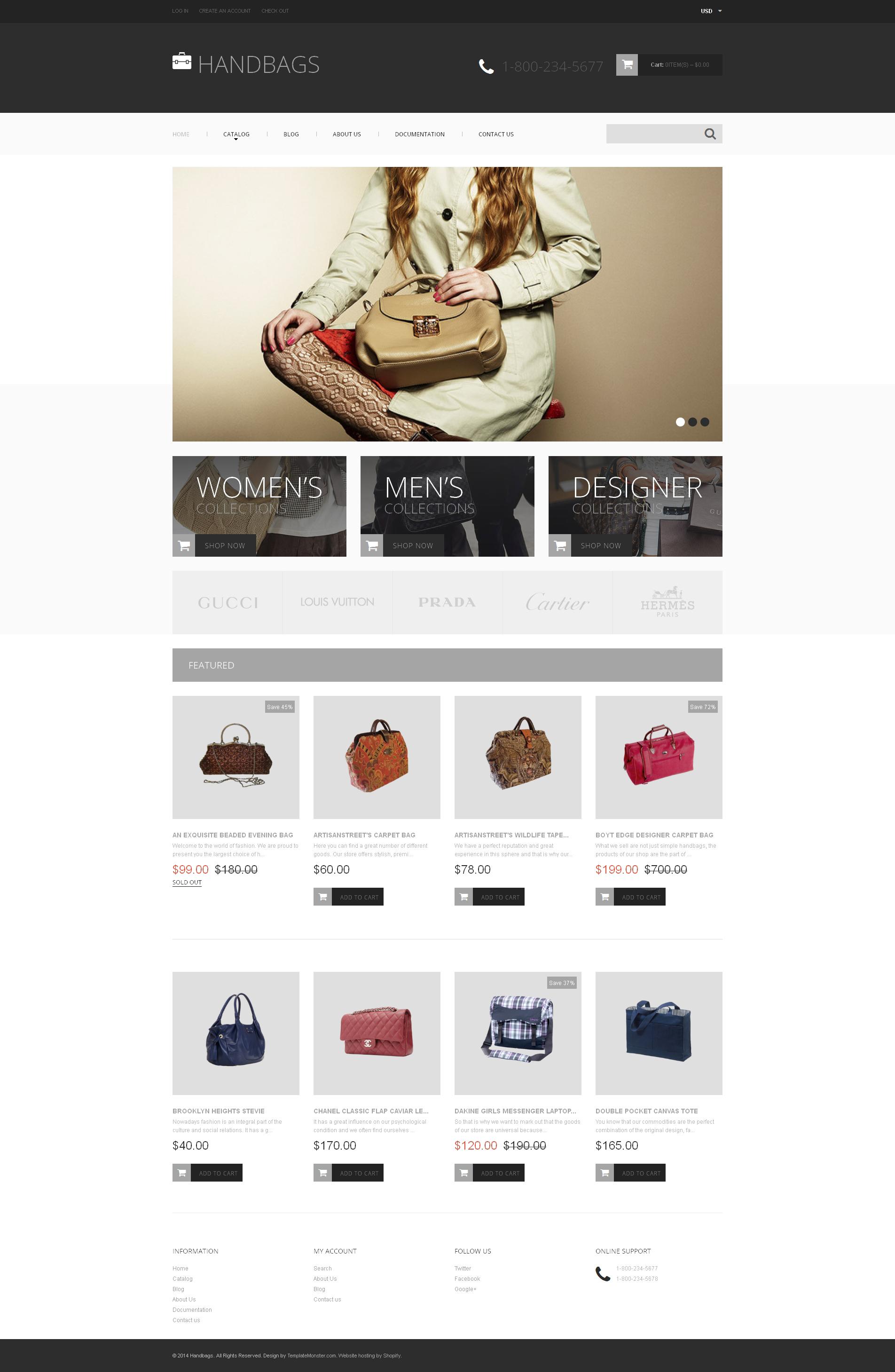 Tema Shopify Responsive #49203 per Un Sito di Borse