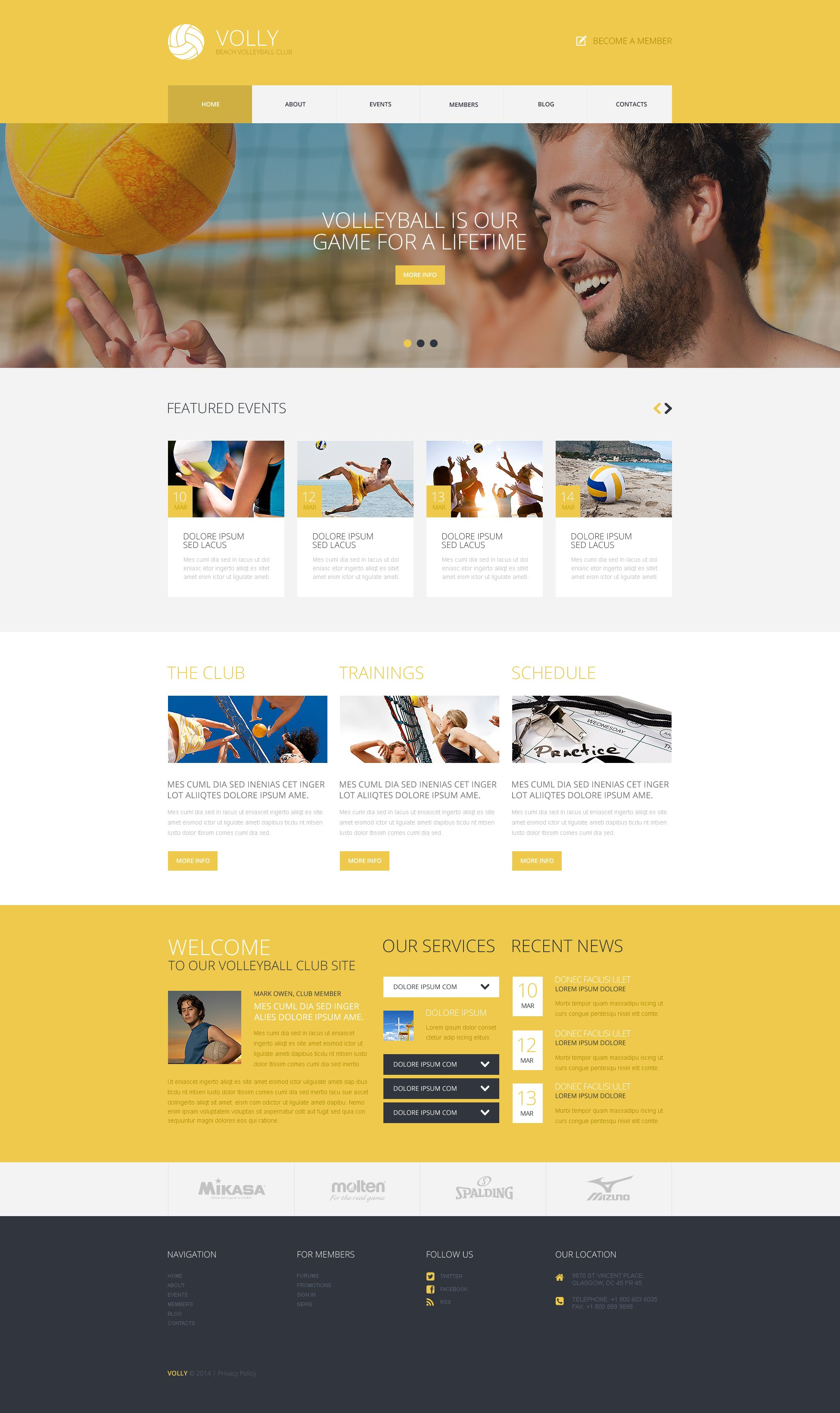 "Tema WordPress Responsive #49281 ""Beach Volleyball Club"""