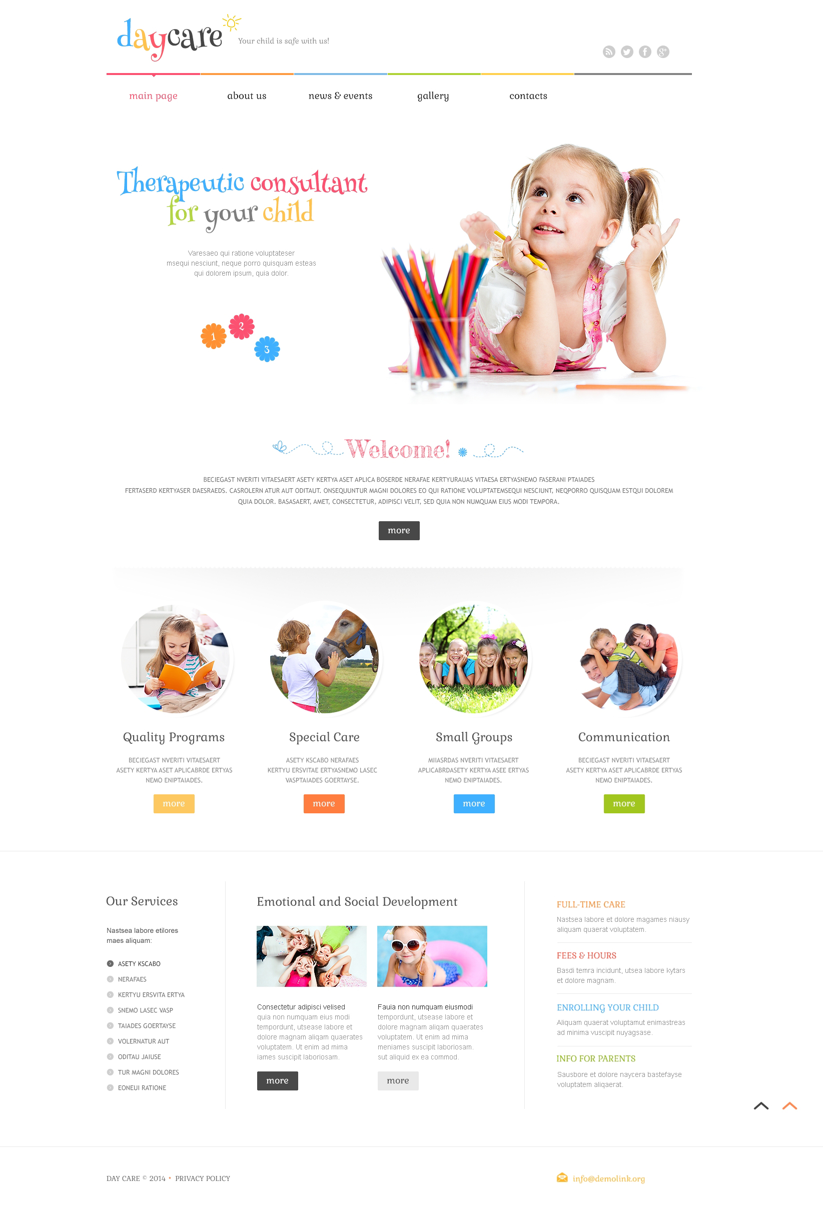 Tema WordPress Responsive #49284 per Un Sito di Day Care - screenshot