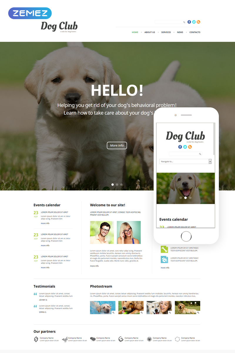 "Template Joomla Responsive #49255 ""Dog Club - Animals & Pets Clean"""