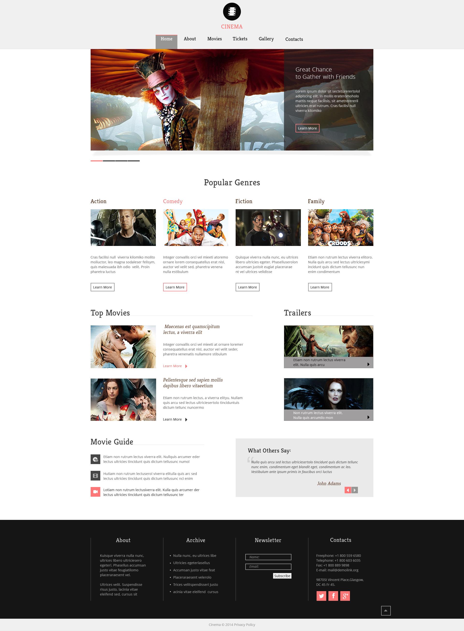 Template Web Flexível para Sites de Cinema №49276 - captura de tela