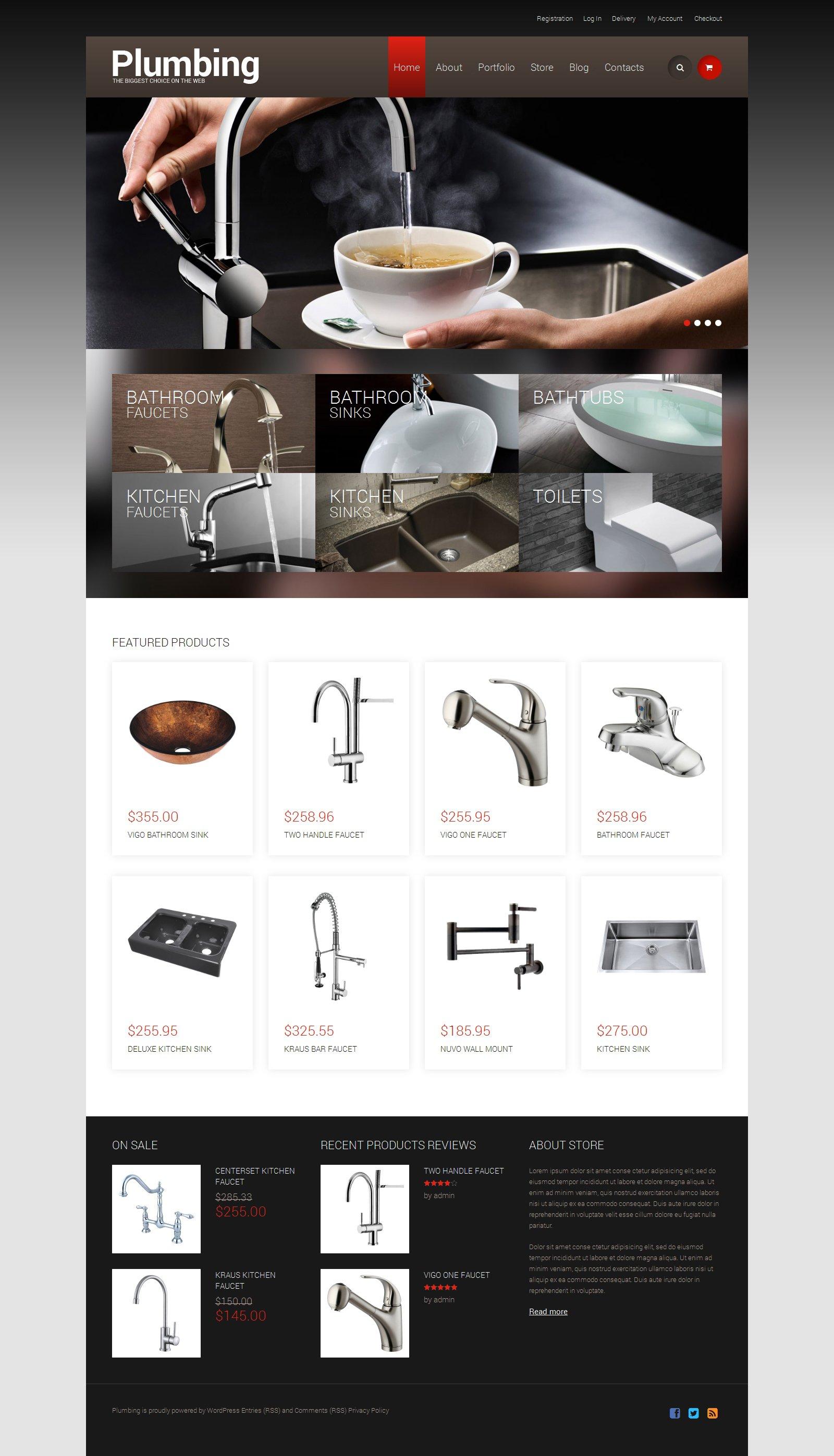Template WooCommerce Responsive #49243 per Un Sito di Impianti Idraulici