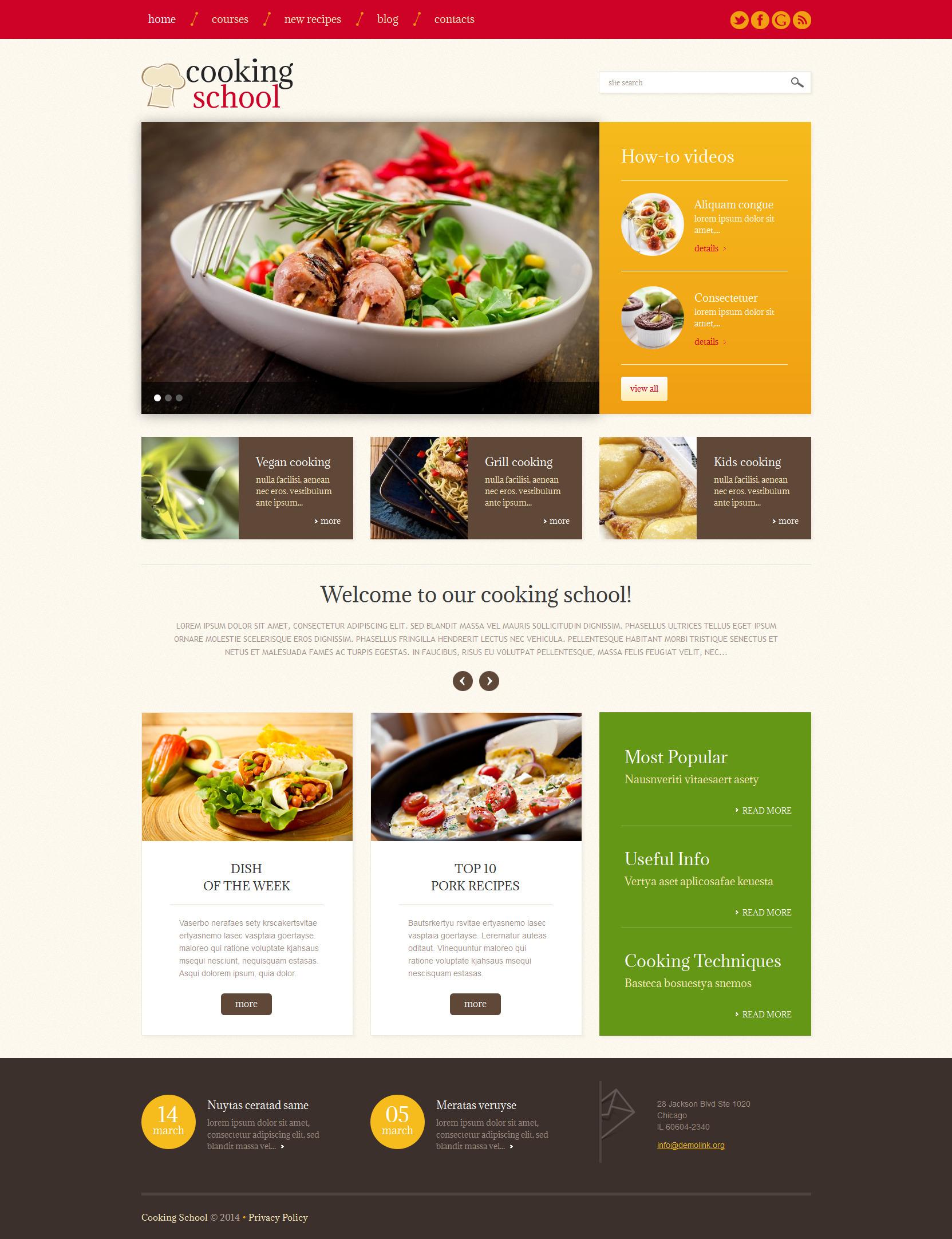 template wordpress responsive 49228 per un sito di scuola di cucina