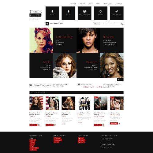 Tickets Online - Shopify Template based on Bootstrap