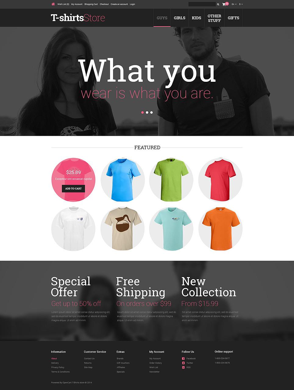 TShirts for Guys Girls OpenCart Template New Screenshots BIG