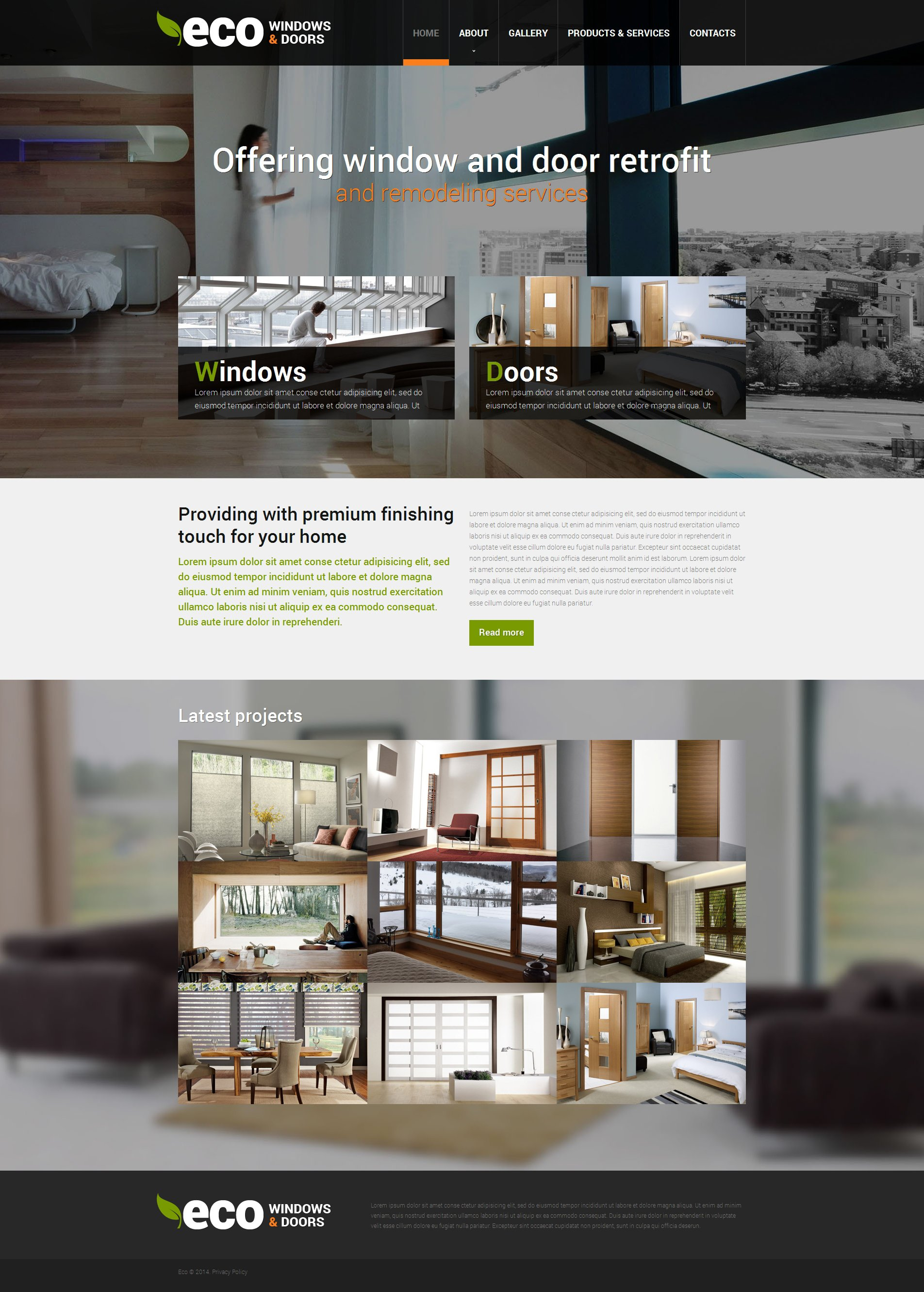 Windows doors responsive website template 49272 for Window design template