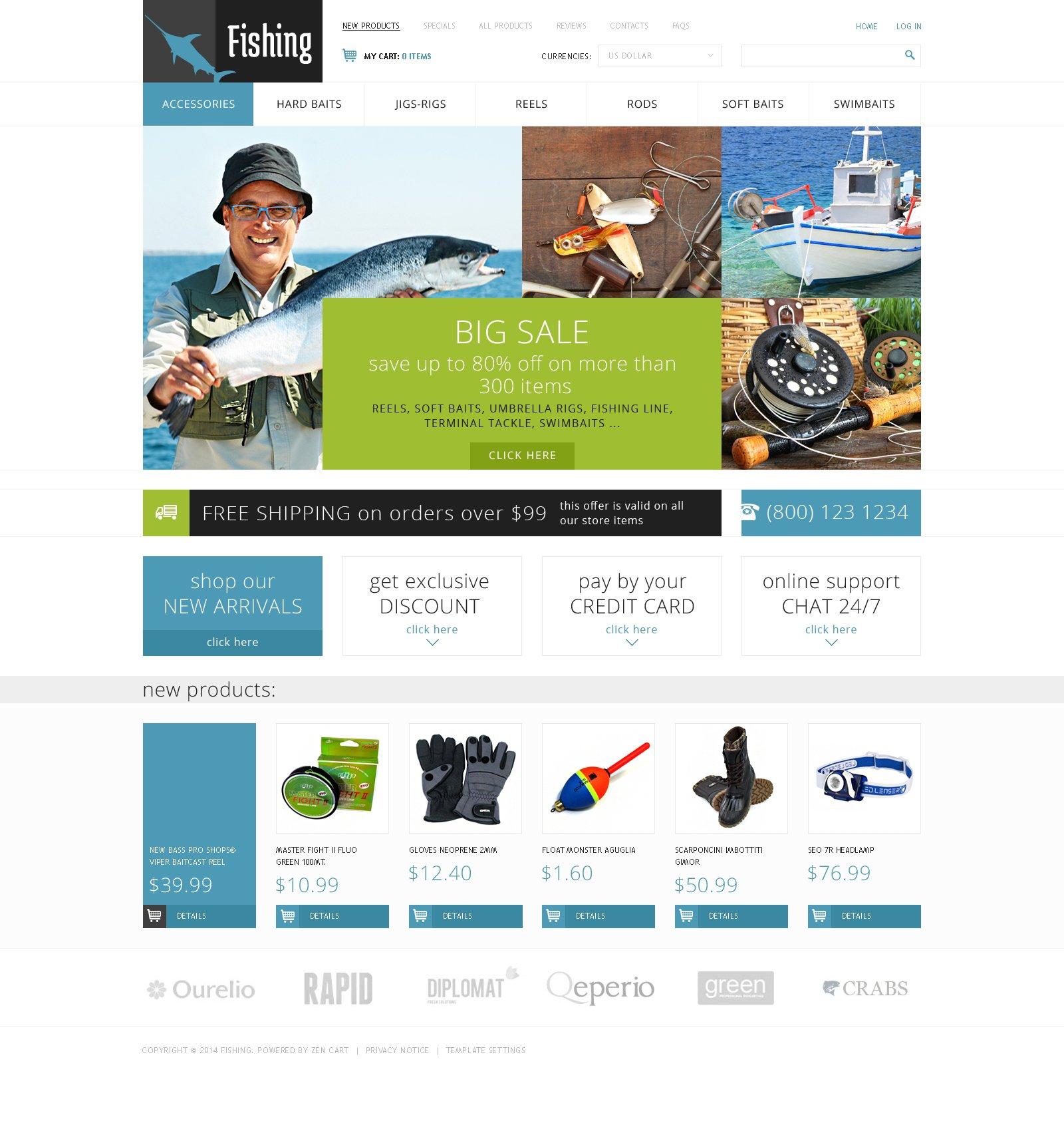 ZenCart шаблон №49201 на тему рыбалка