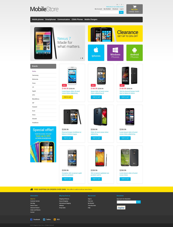 Адаптивний Magento шаблон на тему магазин телефонів №49369