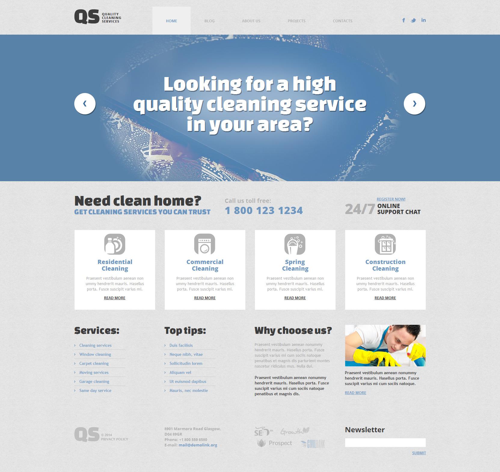 Адаптивний WordPress шаблон на тему мийка вікон №49360