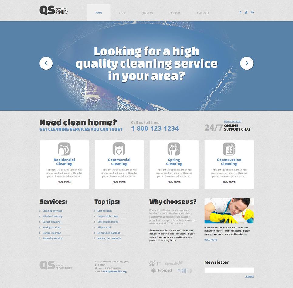 Адаптивный шаблон сайта на тему клининговая компания #49360