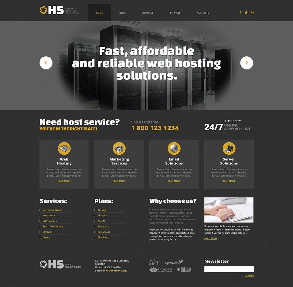 Адаптивный шаблон сайта на тему хостинг #49361