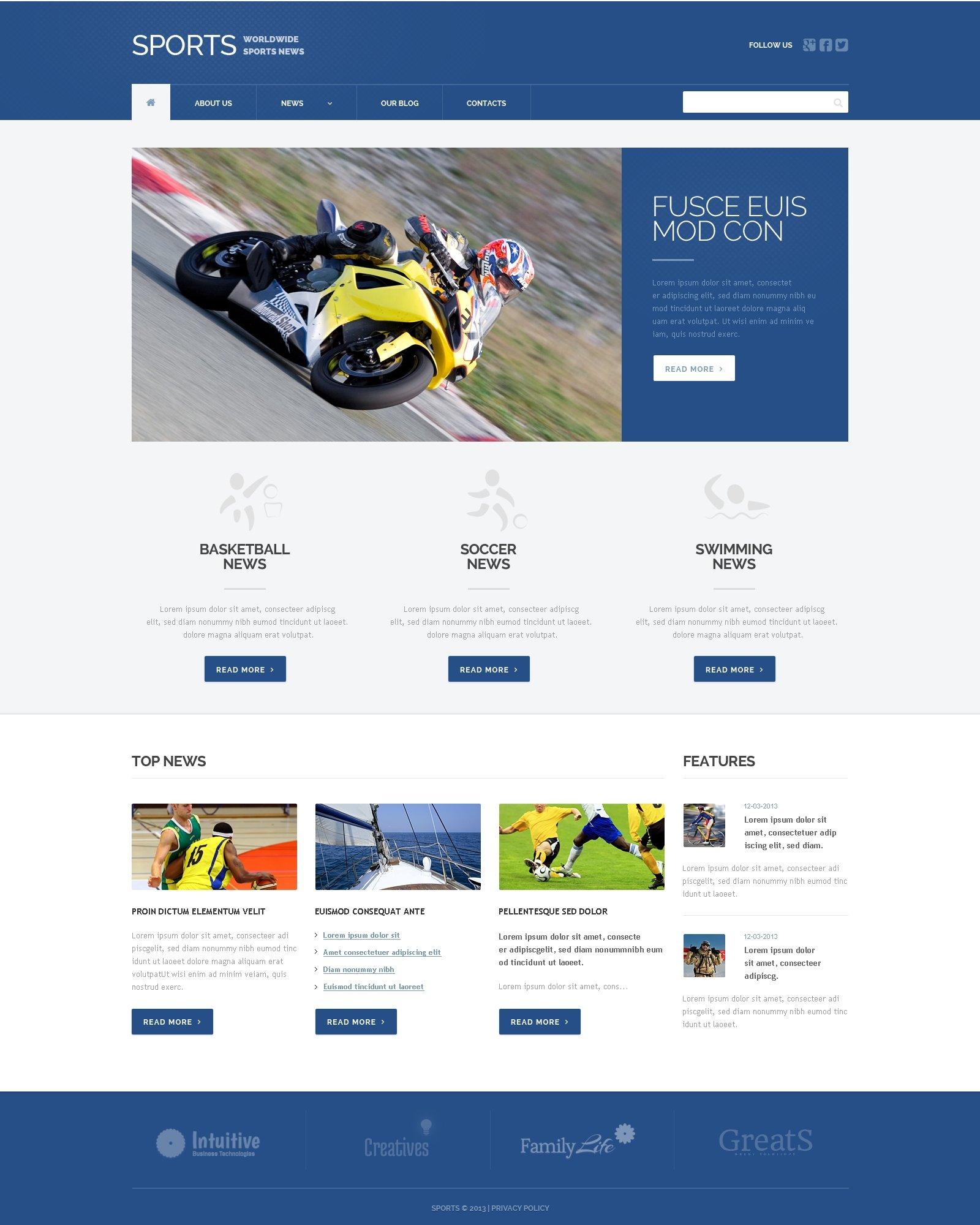 Адаптивный WordPress шаблон №49397 на тему спортивные новости - скриншот