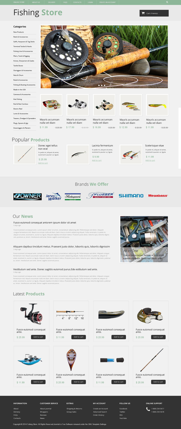 All Fishing Stuff VirtueMart Template New Screenshots BIG