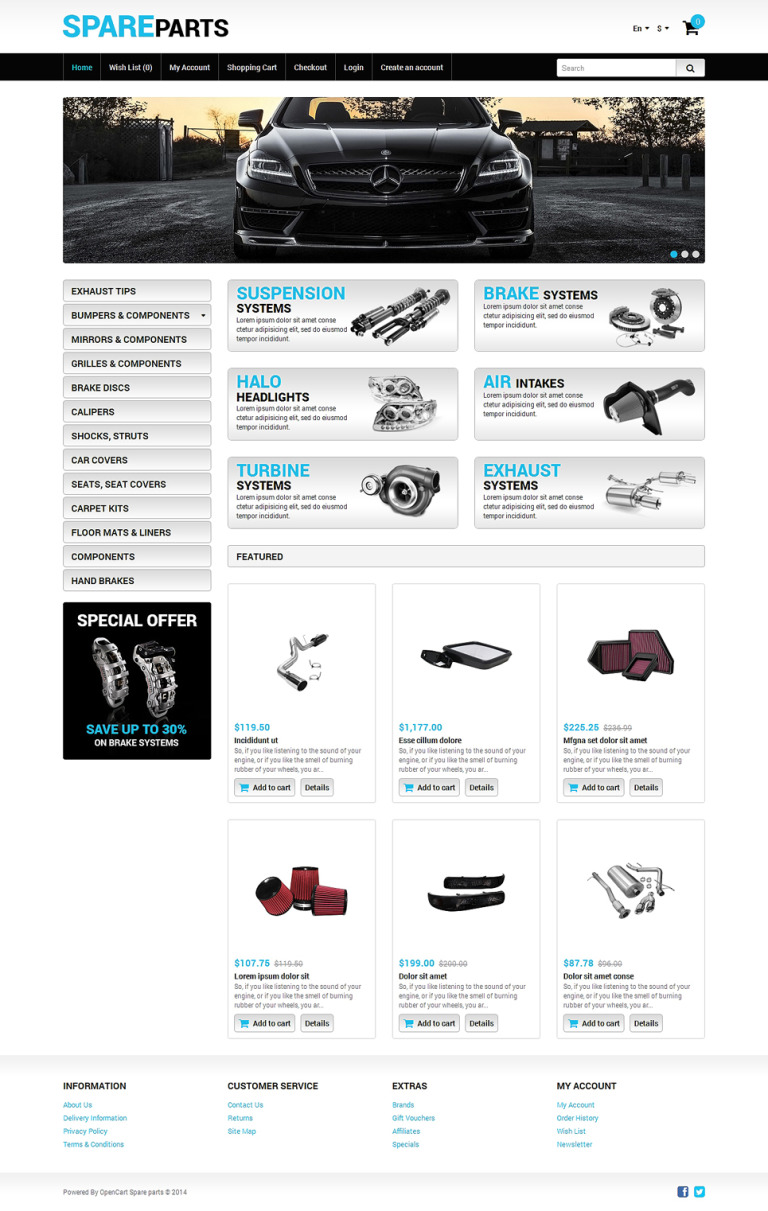 Auto Store OpenCart Template New Screenshots BIG