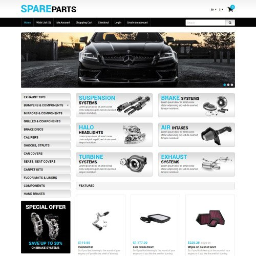 Spare Parts - Auto Store OpenCart Template based on Bootstrap