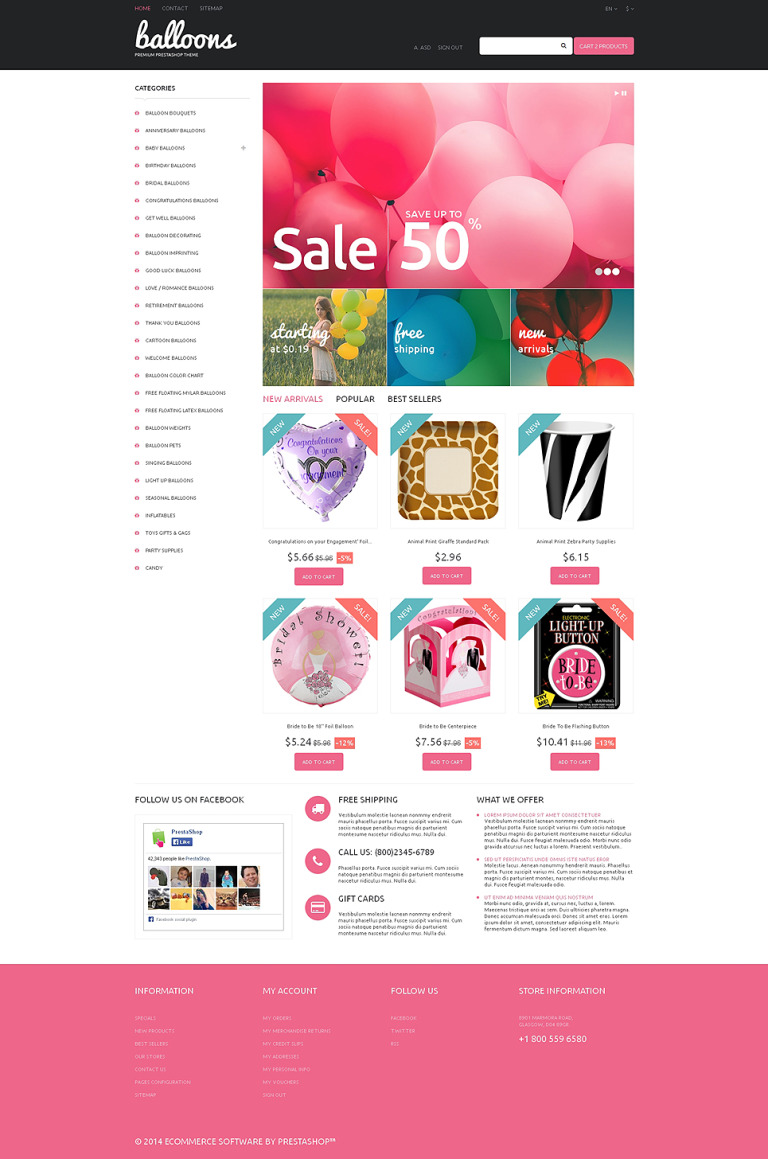 Balloons and Party Items PrestaShop Theme New Screenshots BIG