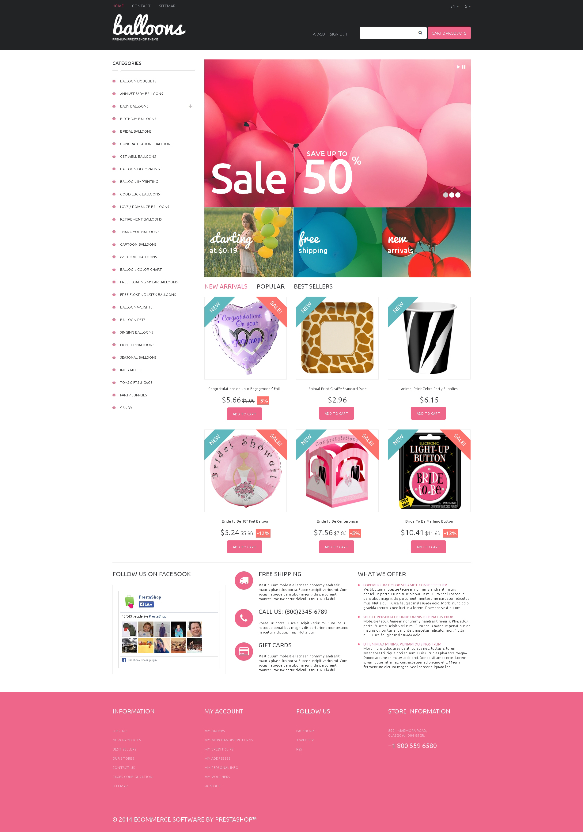 Balloons and Party Items PrestaShop Theme - screenshot