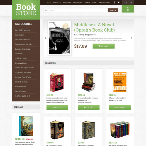 Book Store - OpenCart Template based on Bootstrap