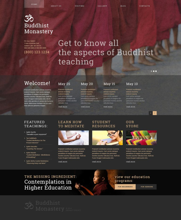 Buddhist Monastery Joomla Template New Screenshots BIG