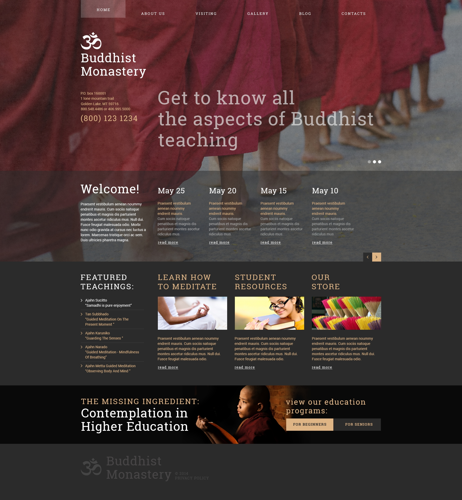 """Buddhist Monastery"" Responsive Joomla Template №49342"