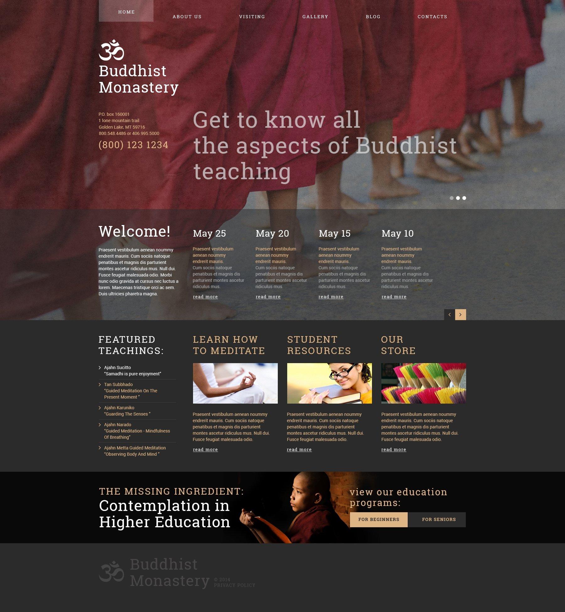 """Buddhist Monastery"" 响应式Joomla模板 #49342"