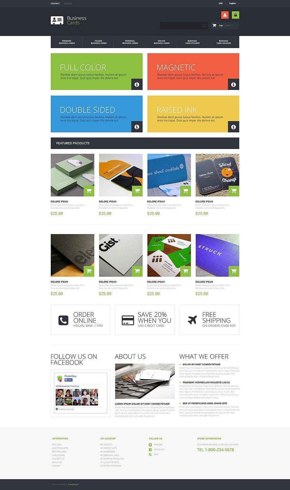 Business cards store prestashop theme 49339 colourmoves