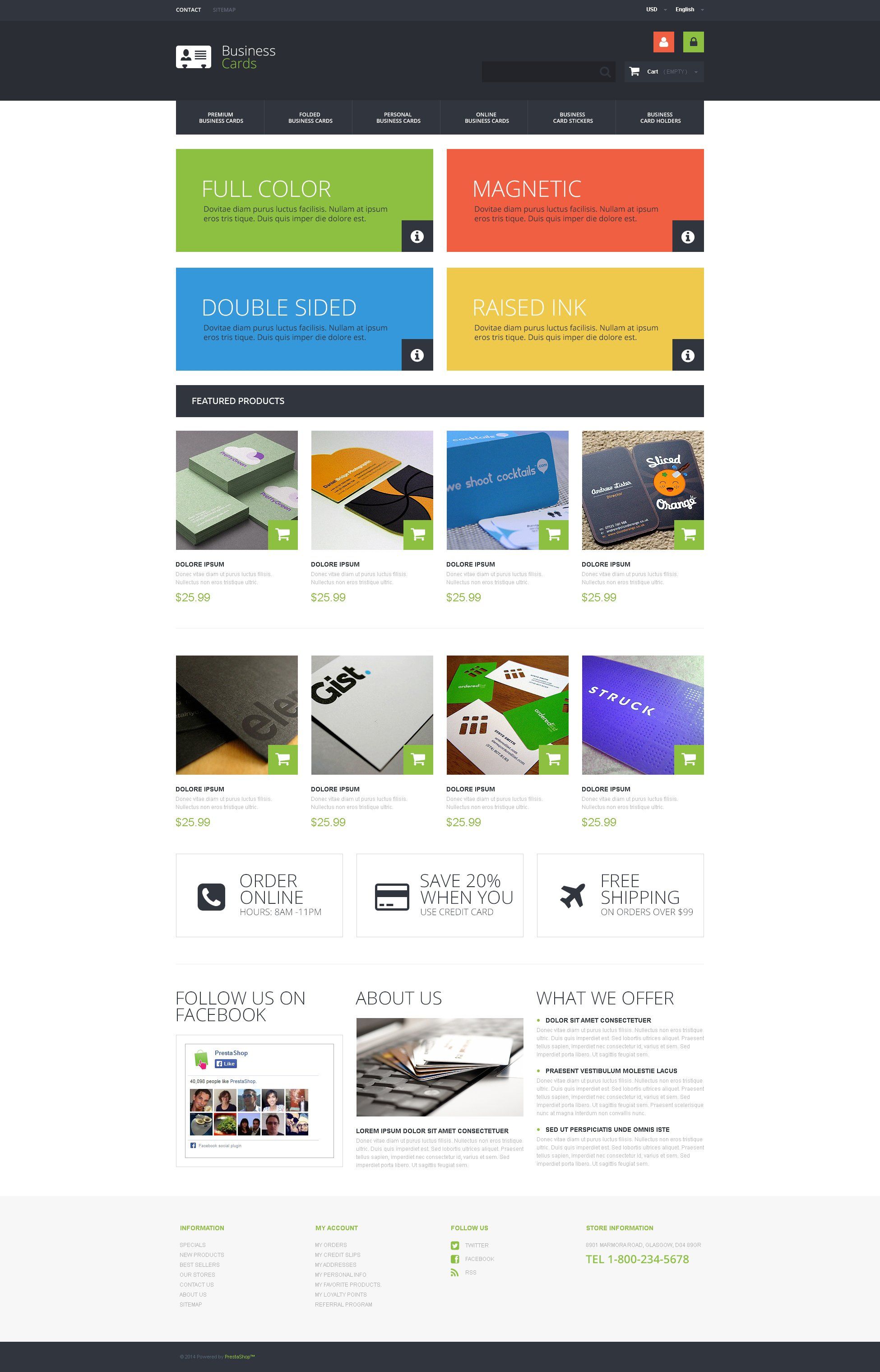 Business Cards Store PrestaShop Theme - screenshot