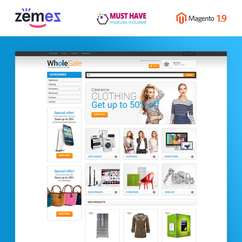 Wholesale - Magento Template based on Bootstrap