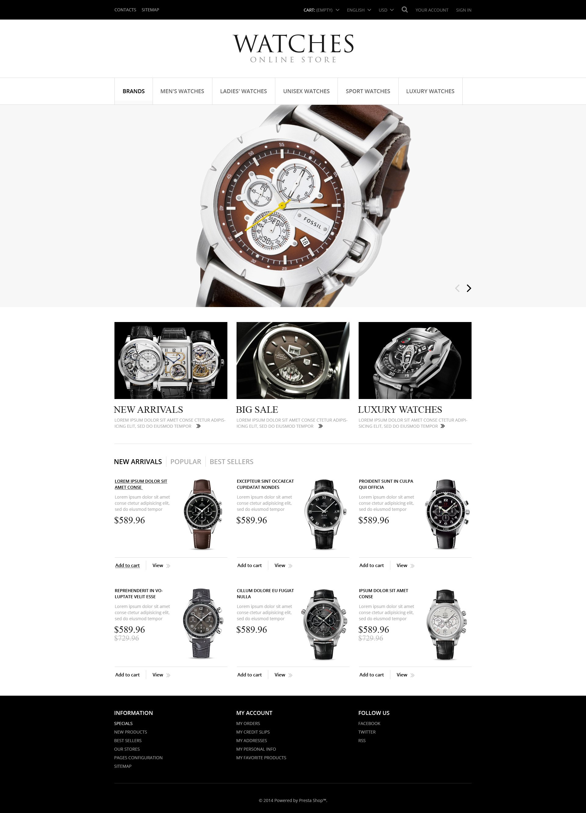 Exclusive Watches PrestaShop Theme - screenshot