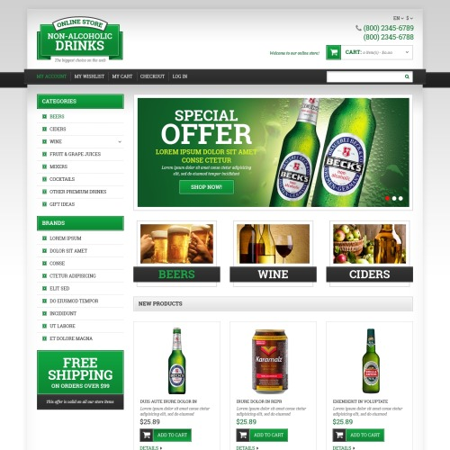 Non-Alcoholic Drinks - Responsive Magento Template