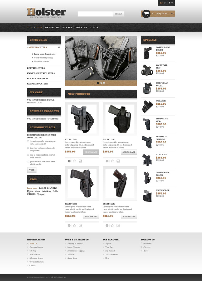 Gun Shop Responsive Magento Theme New Screenshots BIG