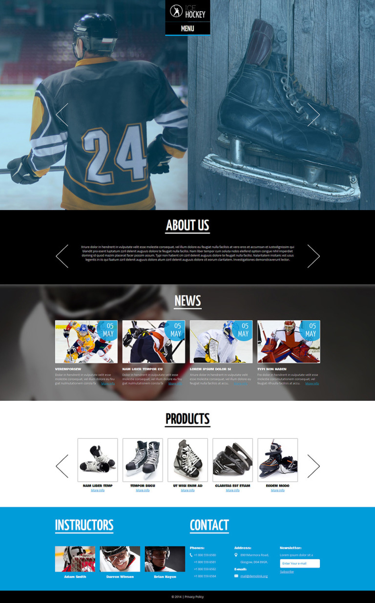 Hockey Responsive Joomla Template New Screenshots BIG