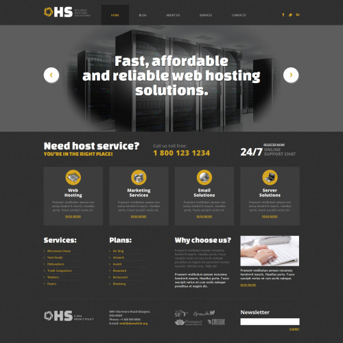 Hs Hosting Company Solution - WordPress Template based on Bootstrap
