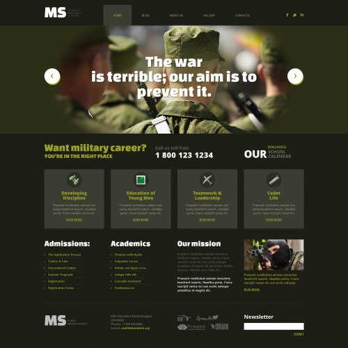 Ms Military School Academy - WordPress Template based on Bootstrap